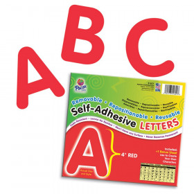 "Self-Adhesive Letters, Red, Puffy Font, 4"", 78 Characters"