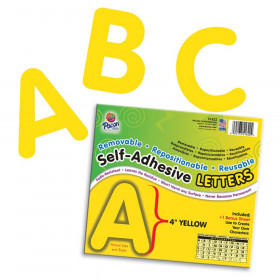 "Self-Adhesive Letters, Yellow, Puffy Font, 4"", 78 Characters"