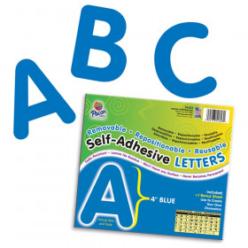 """Self-Adhesive Letters, Blue, Puffy Font, 4"""", 78 Characters"""
