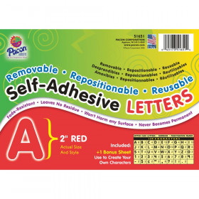 """Self-Adhesive Letters, Red, Puffy Font, 2"""", 159 Characters"""