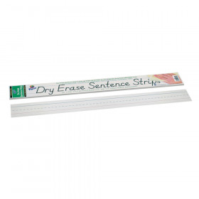 "Dry Erase Sentence Strips, White, 1-1/2"" X 3/4"" Ruled, 3"" x 24"", 30 Strips"