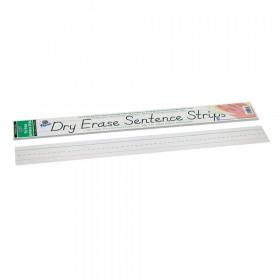 "Dry Erase Sentence Strips, White, 1-1/2"" X 3/4"" Ruled, 3"" x 24"", 30 Strips"