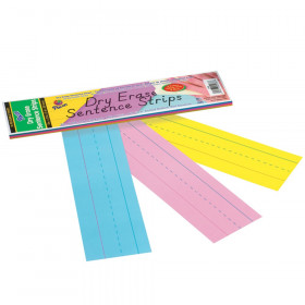 "Dry Erase Sentence Strips, 3 Assorted Colors, 1-1/2"" X 3/4"" Ruled, 3"" x 12"", 30 Strips"