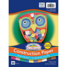 "Construction Paper, 10 Assorted Colors, 9"" x 12"", 50 Sheets"