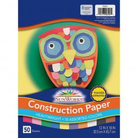 "Construction Paper, 10 Assorted Colors, 12"" x 18"", 50 Sheets"