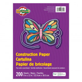"Construction Paper, Assorted Colors, 9"" x 12"", 200 Sheets"