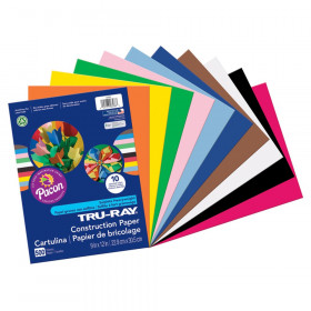"Construction Paper Bulk Assortment, 10 Assorted Colors, 9"" x 12"", 500 Sheets"