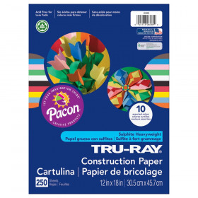 "Construction Paper Bulk Assortment, 10 Assorted Colors, 12"" x 18"", 250 Sheets"
