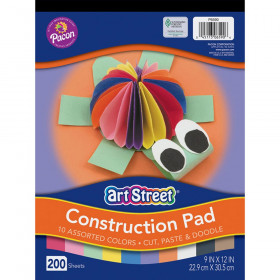 "Lightweight Construction Paper Pad, 10 Assorted Colors, 9"" x 12"", 200 Sheets"