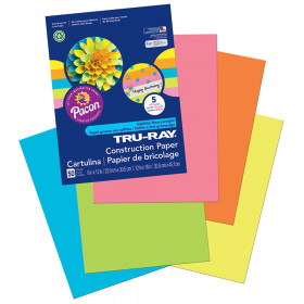 "Construction Paper, 5 Assorted Hot Colors, 9"" x 12"", 50 Sheets"