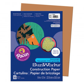 "Construction Paper, Brown, 9"" x 12"", 50 Sheets"