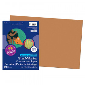 """Construction Paper, Brown, 12"""" x 18"""", 50 Sheets"""