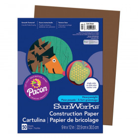 "Construction Paper, Dark Brown, 9"" x 12"", 50 Sheets"