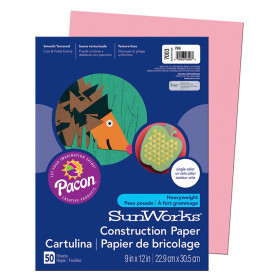 """Construction Paper, Pink, 9"""" x 12"""", 50 Sheets"""