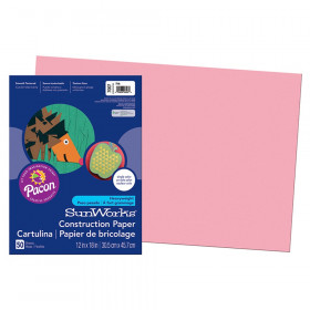 "Construction Paper, Pink, 12"" x 18"", 50 Sheets"