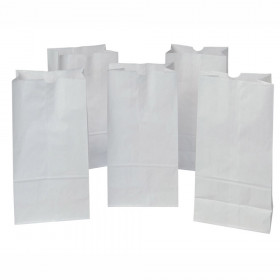"Kraft Bag, White, 7-1/8"" x 4-3/8"" x 14"", 50 Bags"