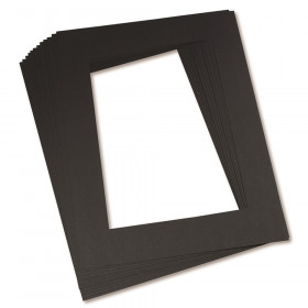 "Pre-Cut Mat Frames, 11.5"" x 16.75"" Frame, 8"" x 10.75"" Window, Black, Pack of 12"