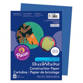 "Construction Paper, Dark Blue, 9"" x 12"", 50 Sheets"