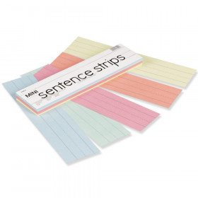 "Mini Sentence Strips, 5 Assorted Colors, 1-1/2"" x 3/4"" Ruled, 3"" x 12"", 100 Strips"