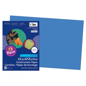 "Construction Paper, Blue, 12"" x 18"", 50 Sheets"