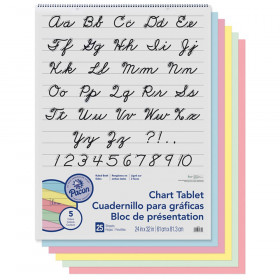 "Colored Paper Chart Tablet, Cursive Cover, Asst, 1"" Ruled. 24"" x 32"", 25 Sheets"