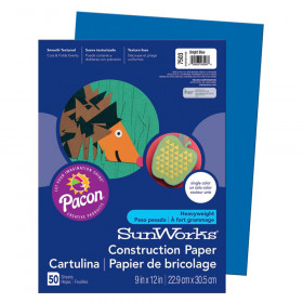 "Construction Paper, Bright Blue, 9"" x 12"", 50 Sheets"