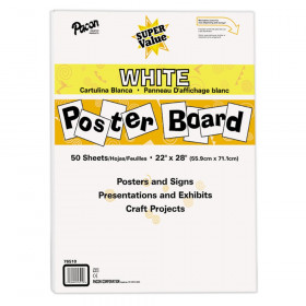 "Super Value Poster Board, White, 22"" x 28"", 50 Sheets"