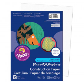 """Construction Paper, Bright White, 9"""" x 12"""", 50 Sheets"""