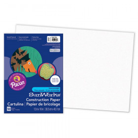 "Construction Paper, Bright White, 12"" x 18"", 50 Sheets"