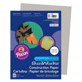 "Construction Paper, Gray, 9"" x 12"", 50 Sheets"