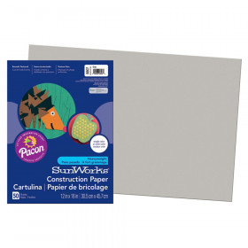 "Construction Paper, Gray, 12"" x 18"", 50 Sheets"