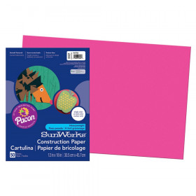 "Construction Paper, Hot Pink, 12"" x 18"", 50 Sheets"