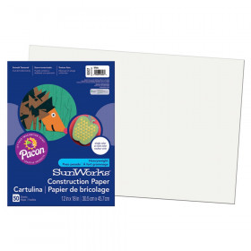 "Construction Paper, White, 12"" x 18"", 50 Sheets"