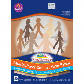 "Multicultural Construction Paper, 5 Assorted Colors, 9"" x 12"", 50 Sheets"