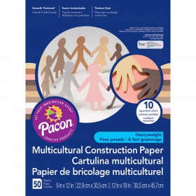 """Multicultural Construction Paper, 5 Assorted Colors, 12"""" x 18"""", 50 Sheets"""