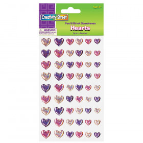 Peel & Stick Gemstone Stickers, Hearts, Assorted Sizes, 54 Pieces