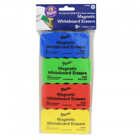 "Magnetic Chalk & Whiteboard Eraser, 4 Assorted Colors, 2-1/4"" x 4-1/4"", 4 Erasers"
