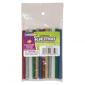 "Hot Glue Sticks, 6 Assorted Glitter Colors, 4"" x 0.31"", 12 Pieces"