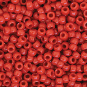 Pony Beads, Red, 6 mm x 9 mm, 1000 Pieces