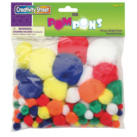 Pom Pons, Bright Hues, Assorted Sizes, 100 Pieces