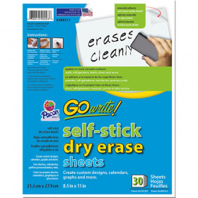"Dry Erase Sheets, Self-Adhesive, White, 8-1/2"" x 11"", 30 Sheets"