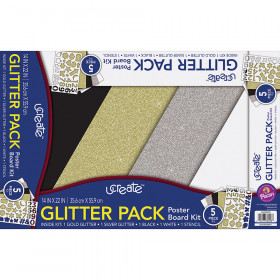 Glitter Poster Board 4 Ast Colors 5 Sheets Kit