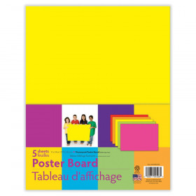 "Neon Poster Board, 5 Assorted Colors, 11"" x 14"", 5 Sheets"