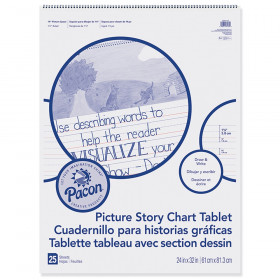 "Picture Story Chart Tablet, White, Ruled Short, 1-1/2"" Ruled, 24"" x 32"", 25 Sheets"