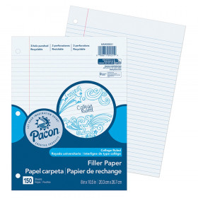 "Filler Paper, White, 3-Hole Punched, Red Margin, 9/32"" Ruled, 8"" x 10-1/2"", 150 Sheets"