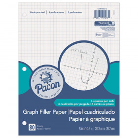 "Graphing Paper, White, 3-Hole Punched, 1/4"" Quadrille Ruled, 8"" x 10-1/2"", 80 Sheets"