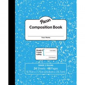 "Composition Book, Grade 2, Blue Marble, 3/4"" x 3/8"" x 3/8"" Ruled, 9-3/4"" x 7-3/4"", 24 Sheets"