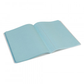 "Dual Ruled Composition Book, Blue, 1/4"" Grid & 3/8"" Wide Ruled, 9-3/4"" x 7-1/2"", 100 Sheets"