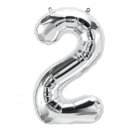 """16"""" Foil Balloon, Silver Number 2"""