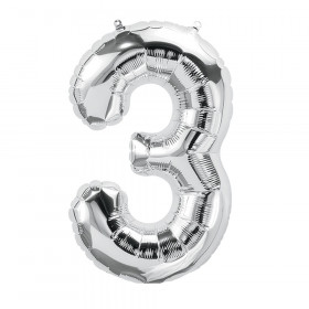 """16"""" Foil Balloon, Silver Number 3"""